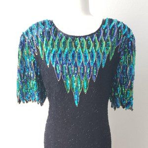 Deadstock Vintage Stenay Peacock Sequin Dress plus
